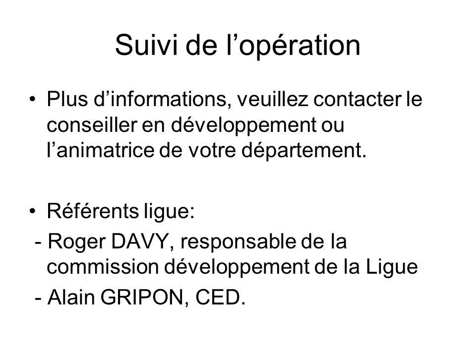 Suivi de l'opération Plus d'informations, veuillez contacter le conseiller en développement ou l'animatrice de votre département.
