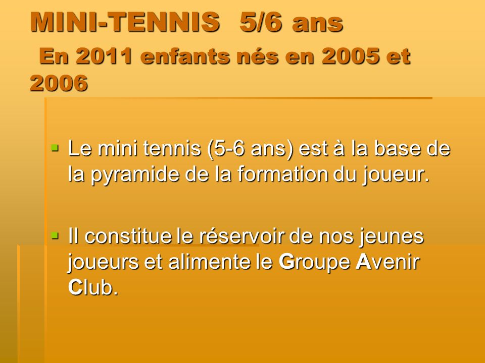 MINI-TENNIS 5/6 ans En 2011 enfants nés en 2005 et 2006