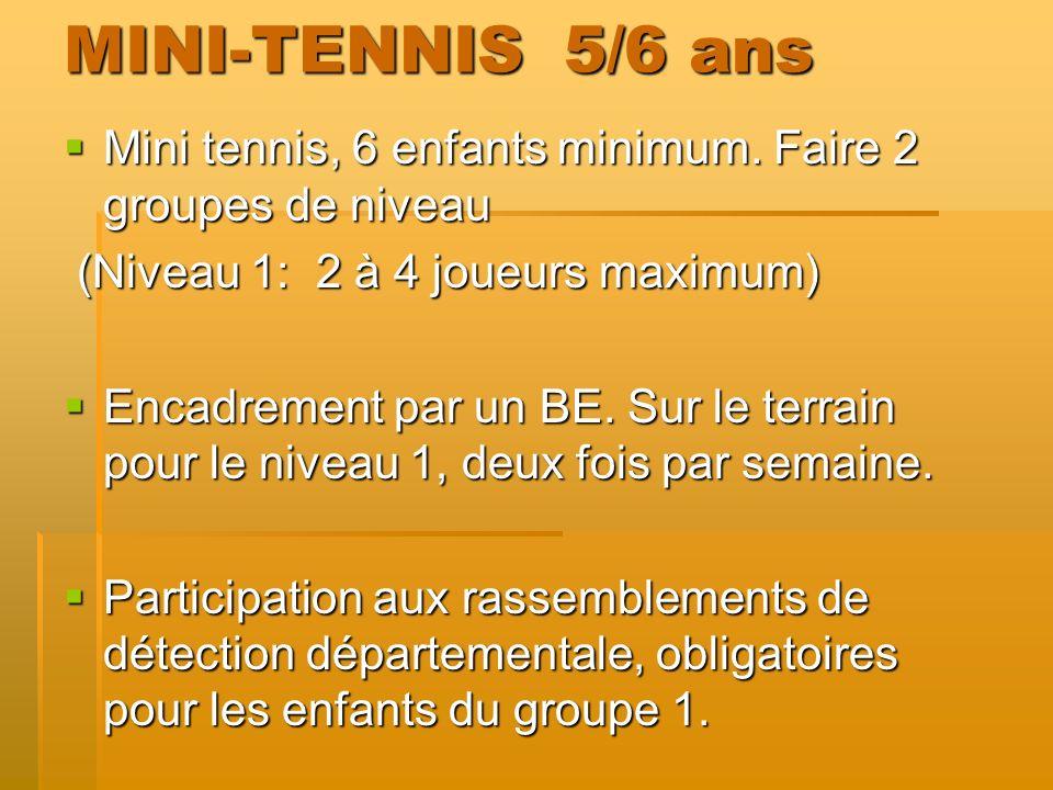 MINI-TENNIS 5/6 ans Mini tennis, 6 enfants minimum. Faire 2 groupes de niveau. (Niveau 1: 2 à 4 joueurs maximum)