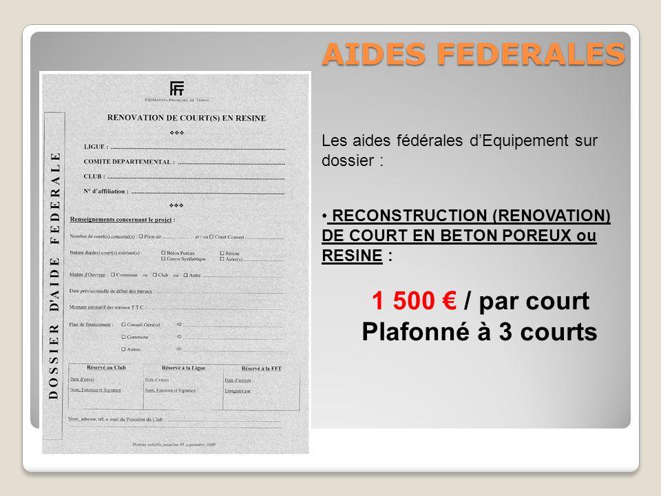 AIDES FEDERALES 1 500 € / par court Plafonné à 3 courts