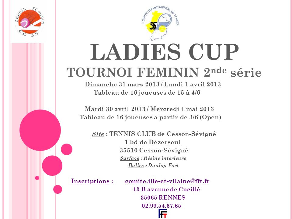 LADIES CUP TOURNOI FEMININ 2nde série