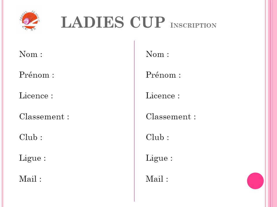 LADIES CUP Inscription