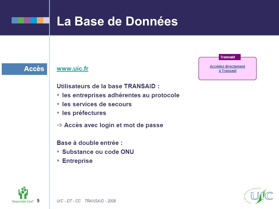 La Base de Données Accès www.uic.fr Utilisateurs de la base TRANSAID :
