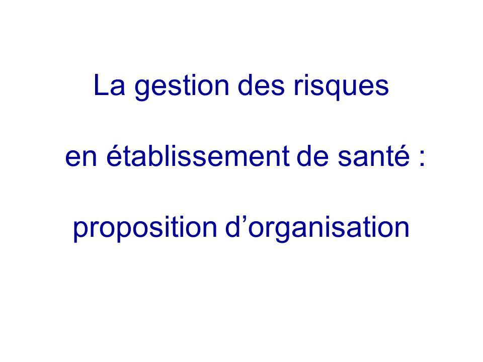 La gestion des risques en établissement de santé : proposition d'organisation
