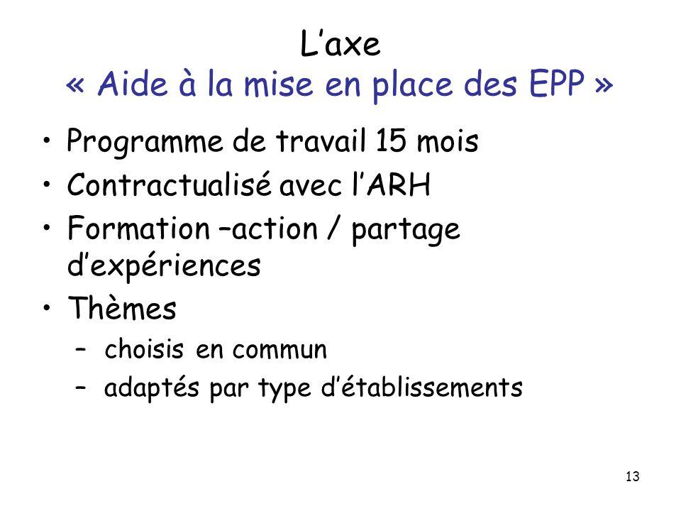 L'axe « Aide à la mise en place des EPP »
