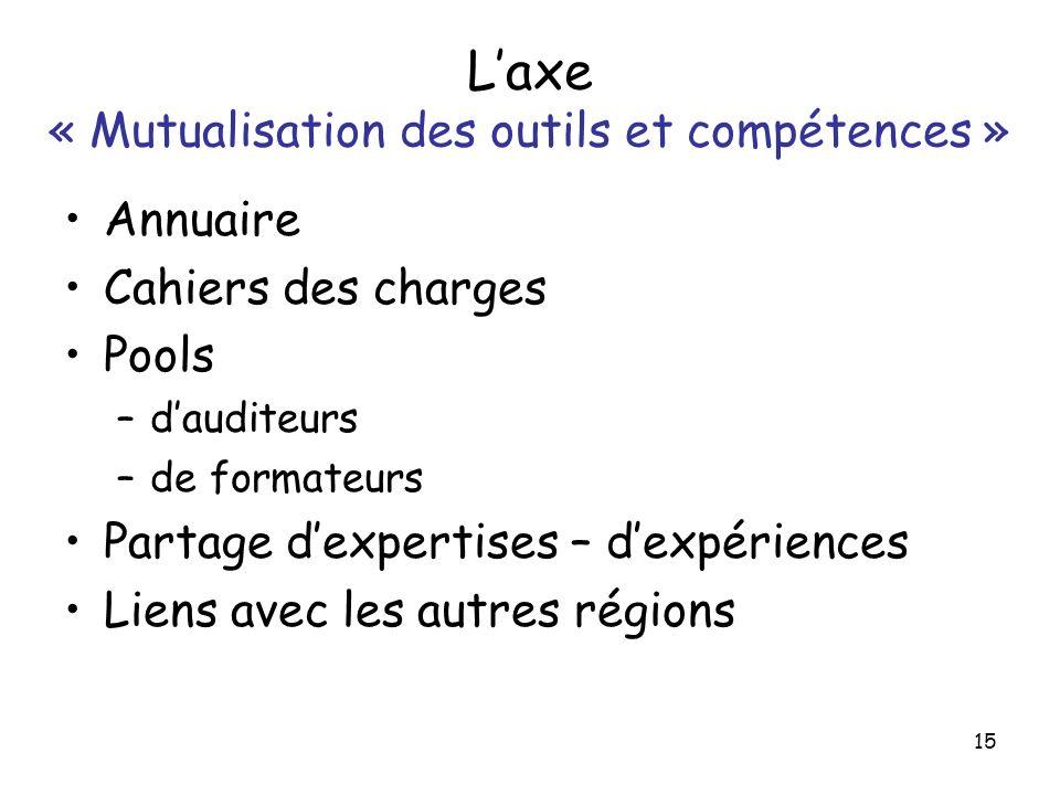 L'axe « Mutualisation des outils et compétences »