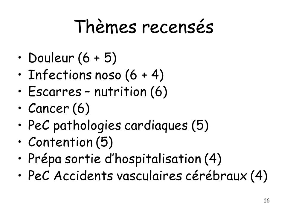 Thèmes recensés Douleur (6 + 5) Infections noso (6 + 4)
