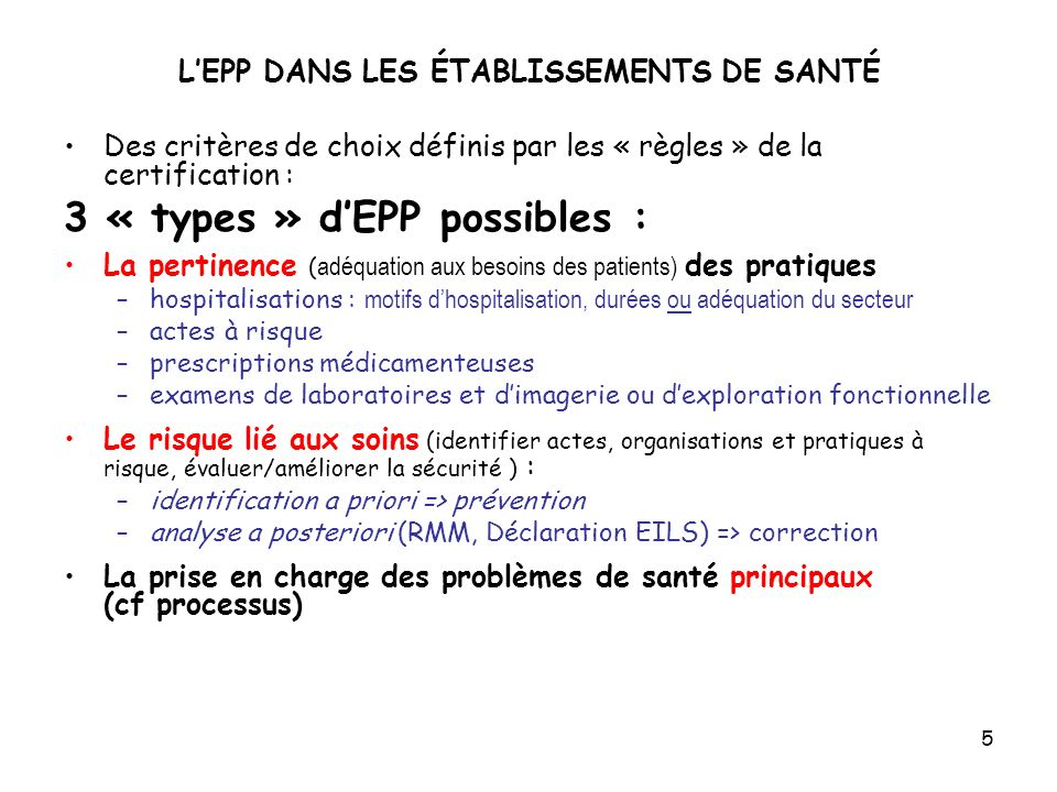 L'EPP DANS LES ÉTABLISSEMENTS DE SANTÉ