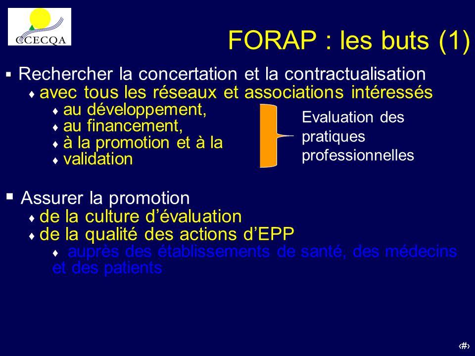 FORAP : les buts (1) Rechercher la concertation et la contractualisation. avec tous les réseaux et associations intéressés.
