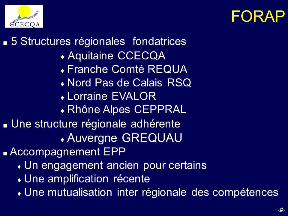 FORAP 5 Structures régionales fondatrices Aquitaine CCECQA