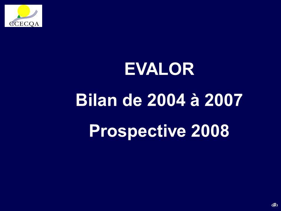 EVALOR Bilan de 2004 à 2007 Prospective 2008