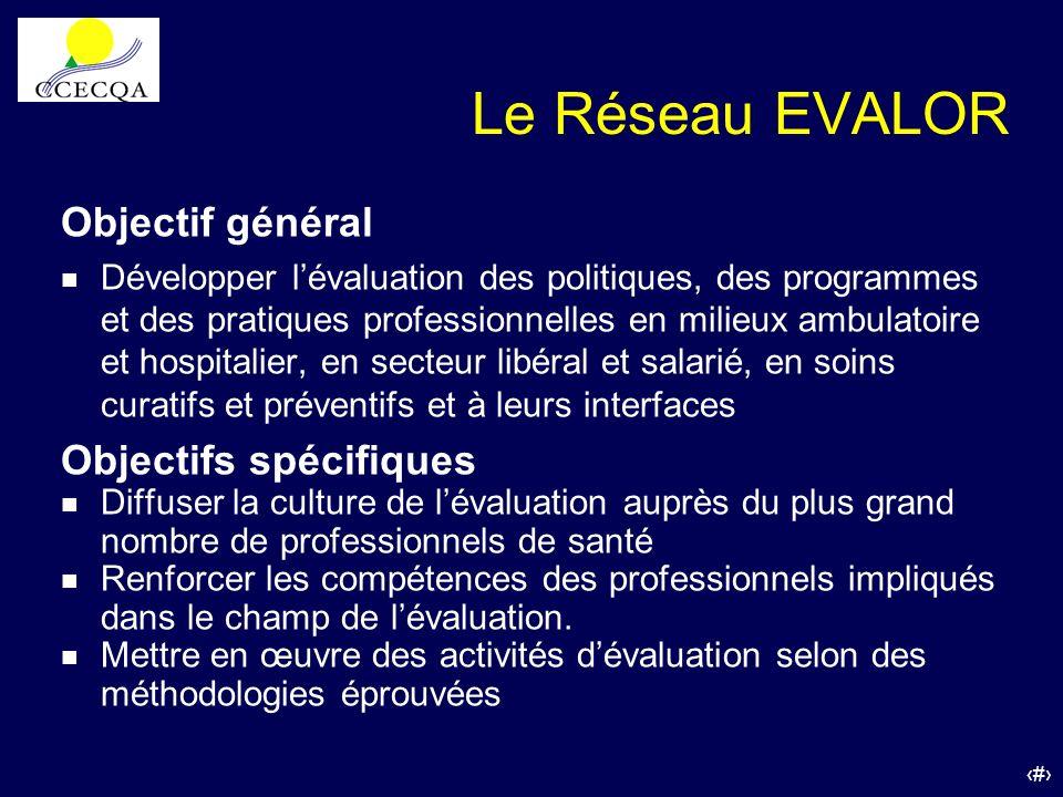 Le Réseau EVALOR Objectif général Objectifs spécifiques
