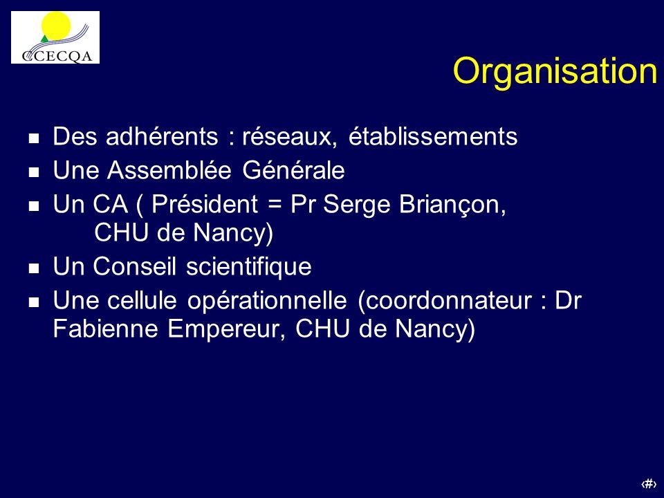 Organisation Des adhérents : réseaux, établissements