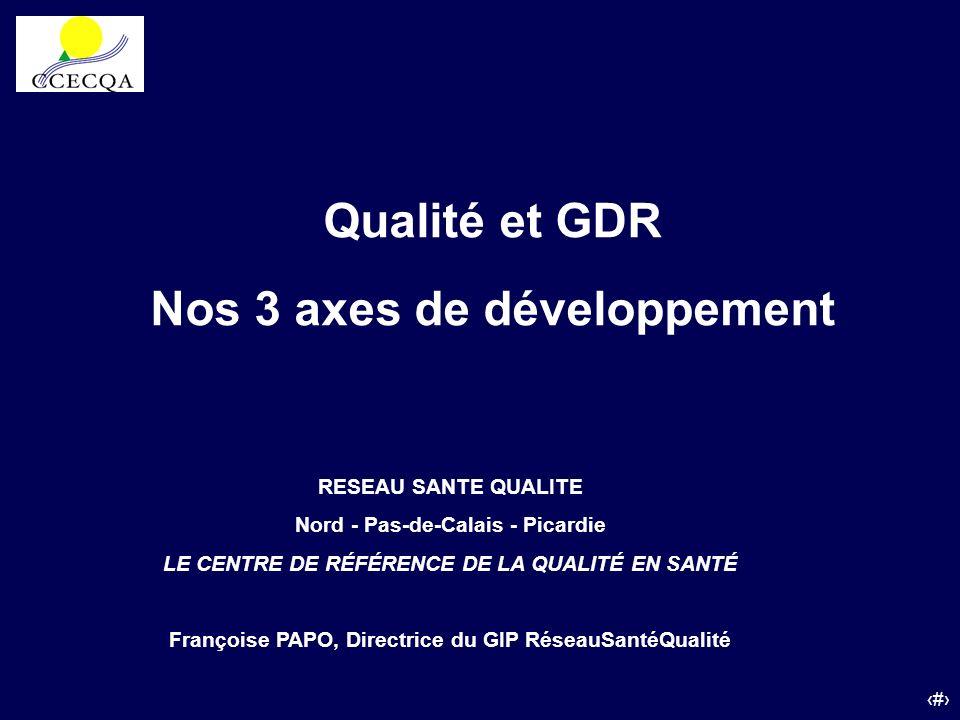 Qualité et GDR Nos 3 axes de développement