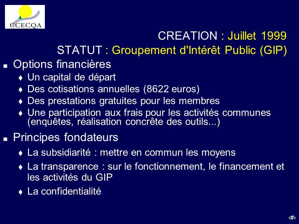 STATUT : Groupement d Intérêt Public (GIP) Options financières