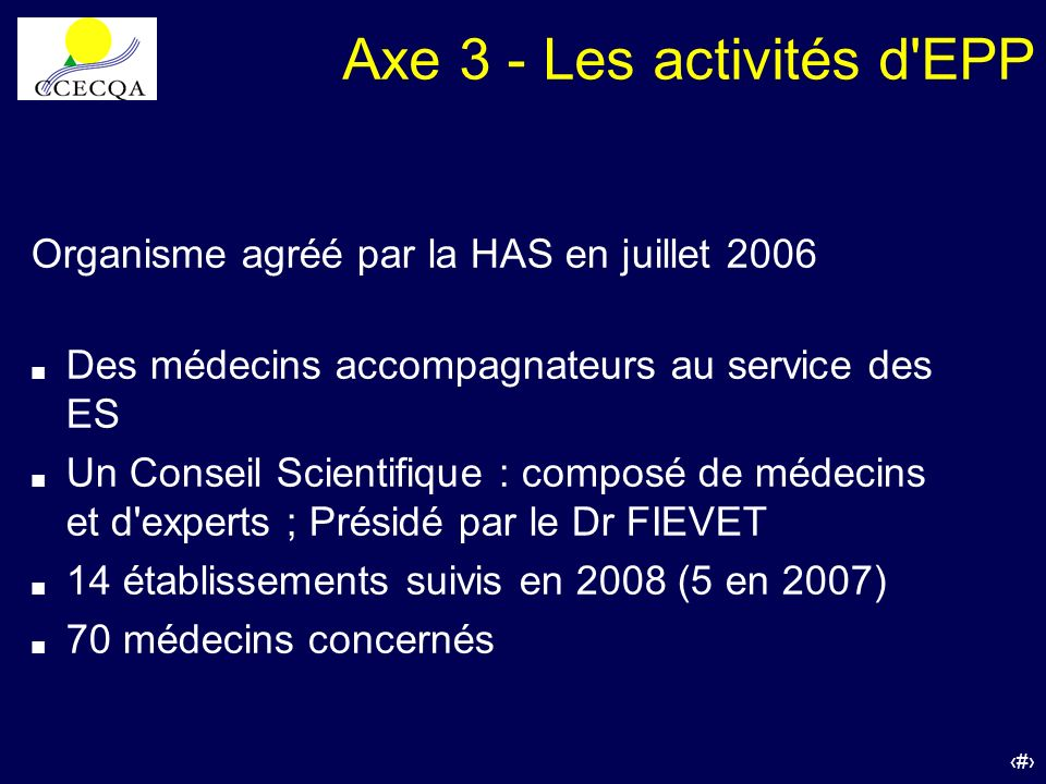 Axe 3 - Les activités d EPP