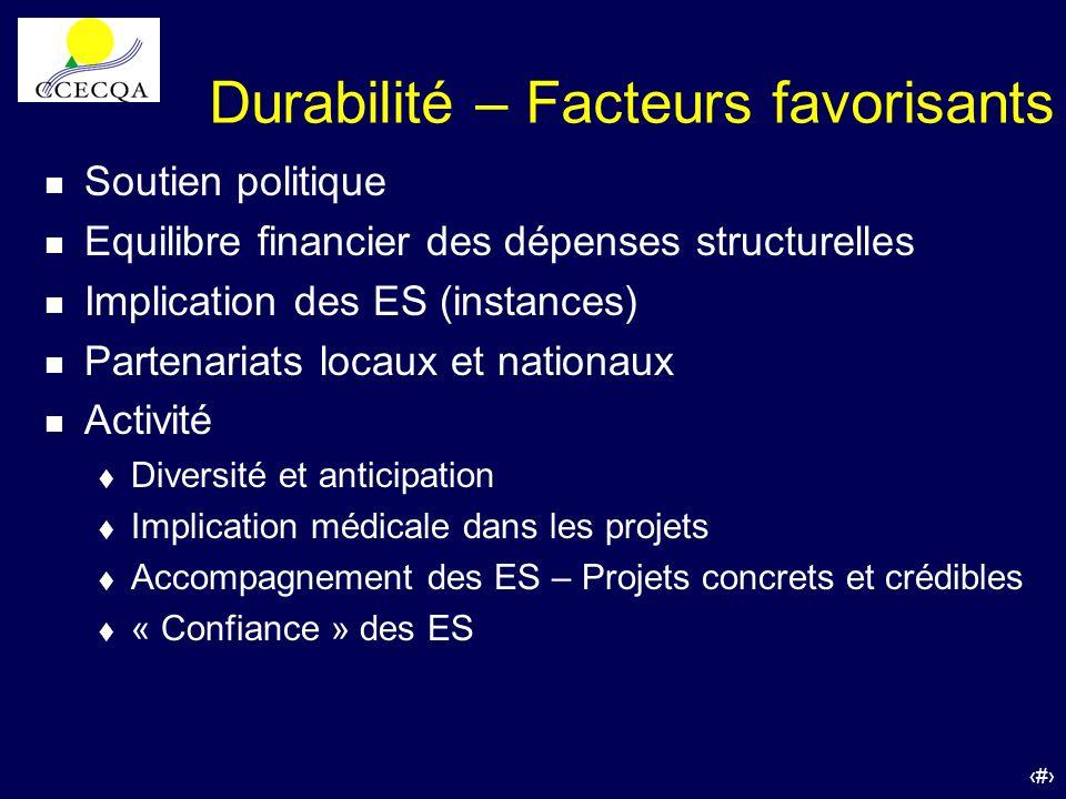 Durabilité – Facteurs favorisants