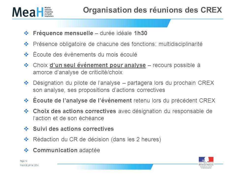Organisation des réunions des CREX