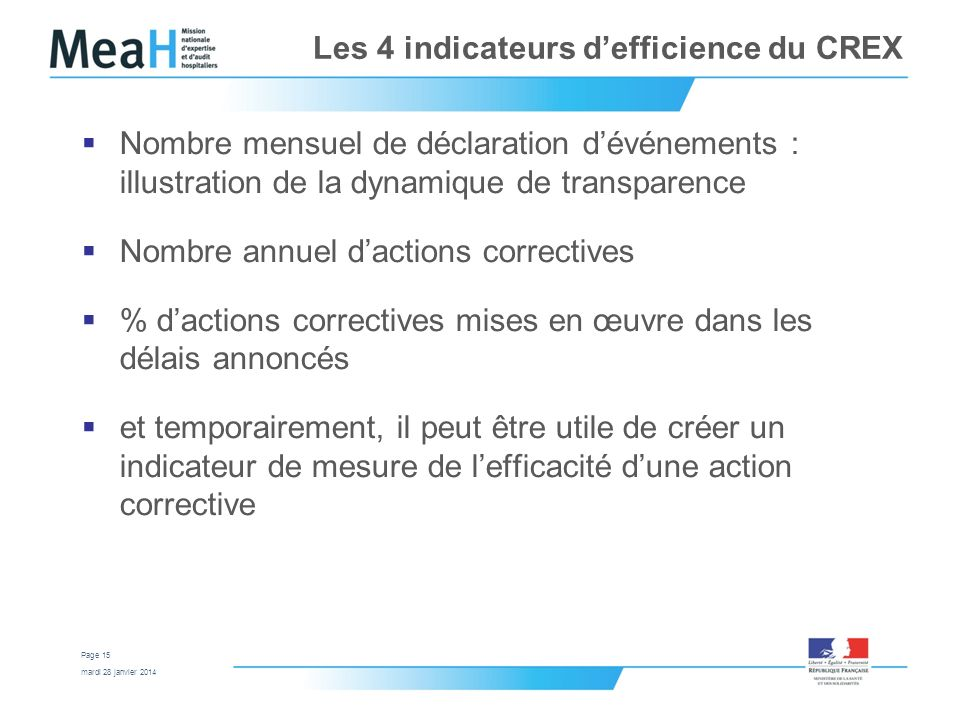 Les 4 indicateurs d'efficience du CREX