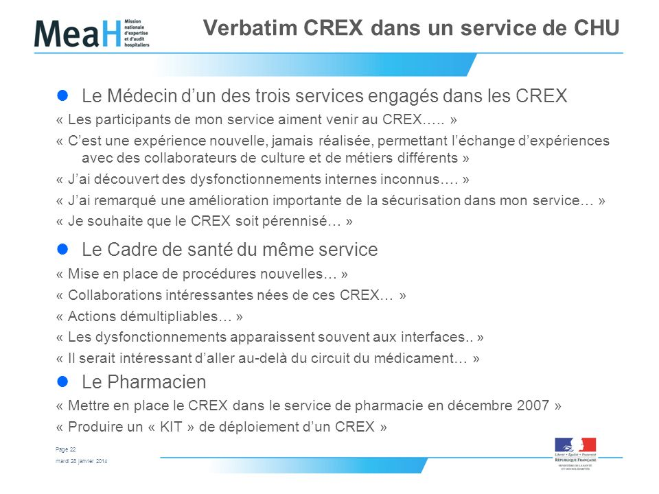 Verbatim CREX dans un service de CHU