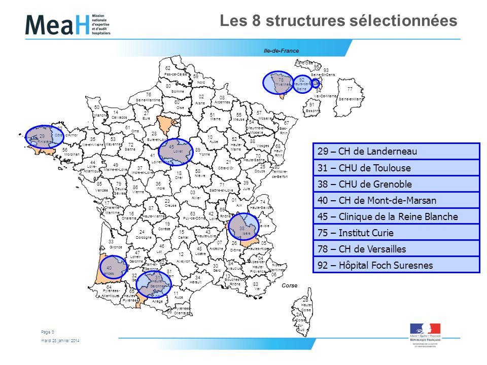 Les 8 structures sélectionnées