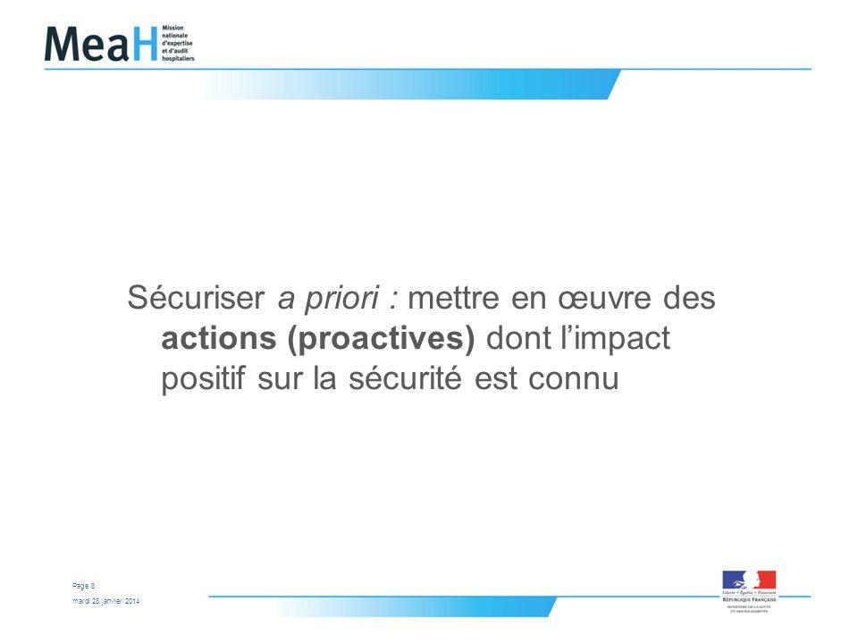 Sécuriser a priori : mettre en œuvre des actions (proactives) dont l'impact positif sur la sécurité est connu