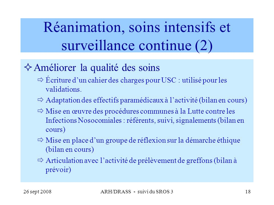 Réanimation, soins intensifs et surveillance continue (2)