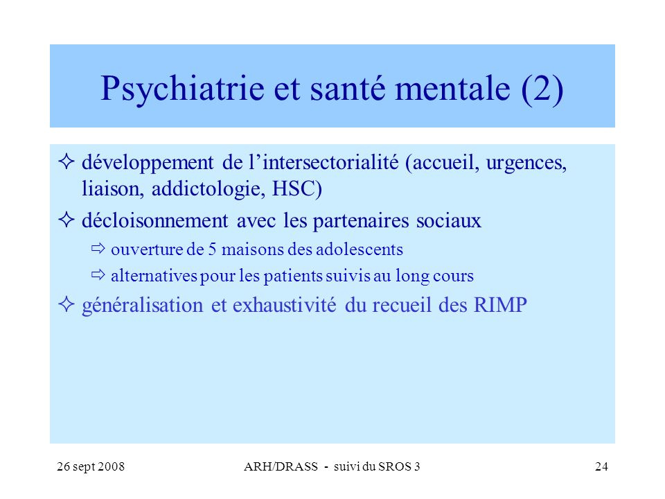 Psychiatrie et santé mentale (2)