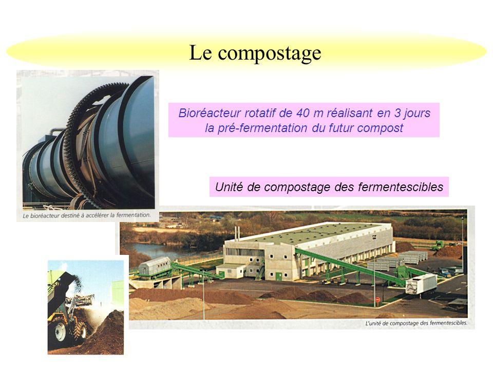 Le compostage Bioréacteur rotatif de 40 m réalisant en 3 jours la pré-fermentation du futur compost.