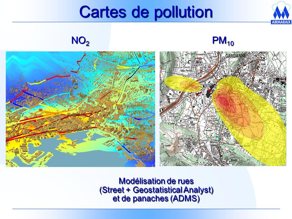 Cartes de pollution NO2 PM10