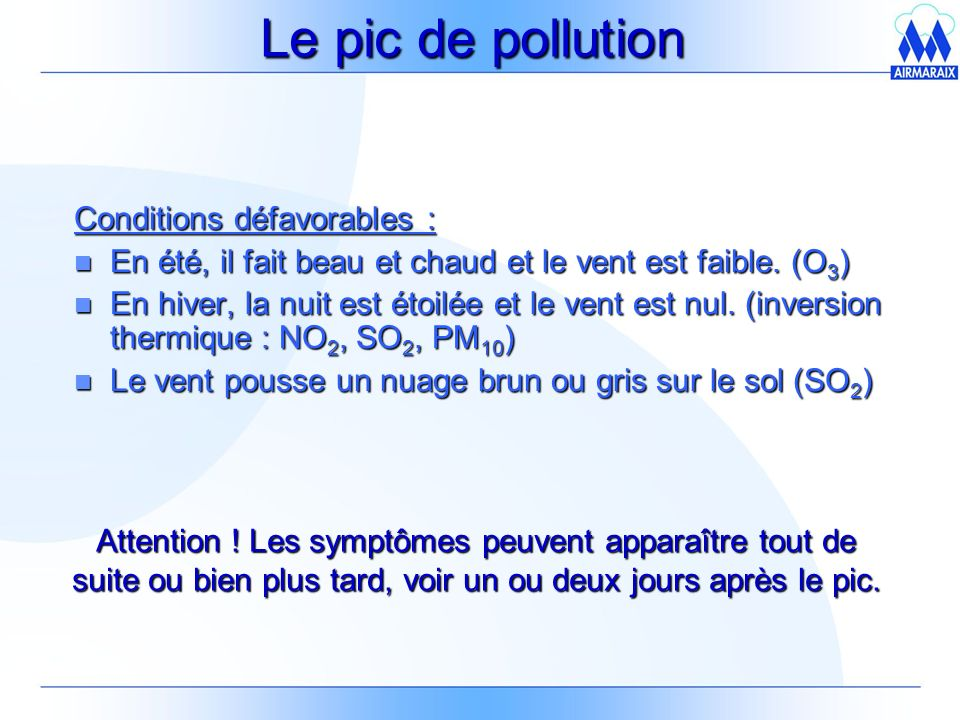 Le pic de pollution Conditions défavorables :