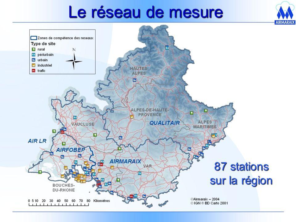 Le réseau de mesure 87 stations sur la région