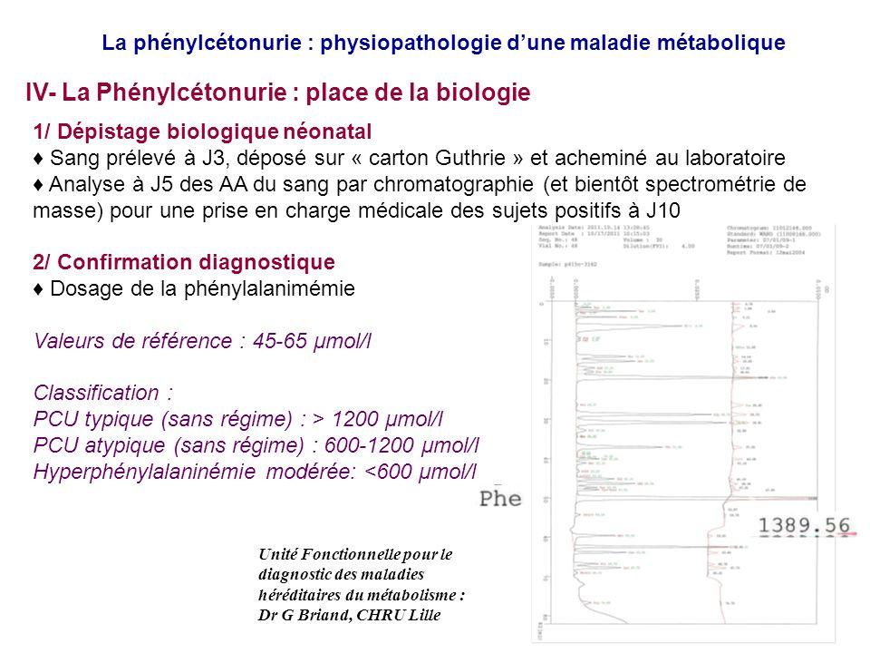 IV- La Phénylcétonurie : place de la biologie