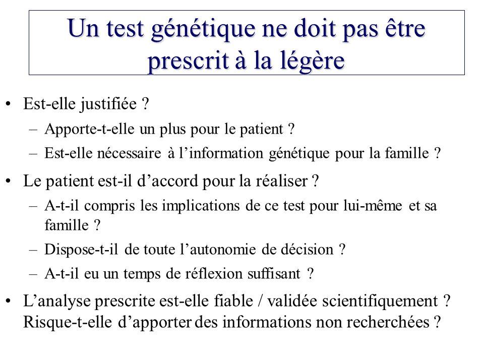 Un test génétique ne doit pas être prescrit à la légère