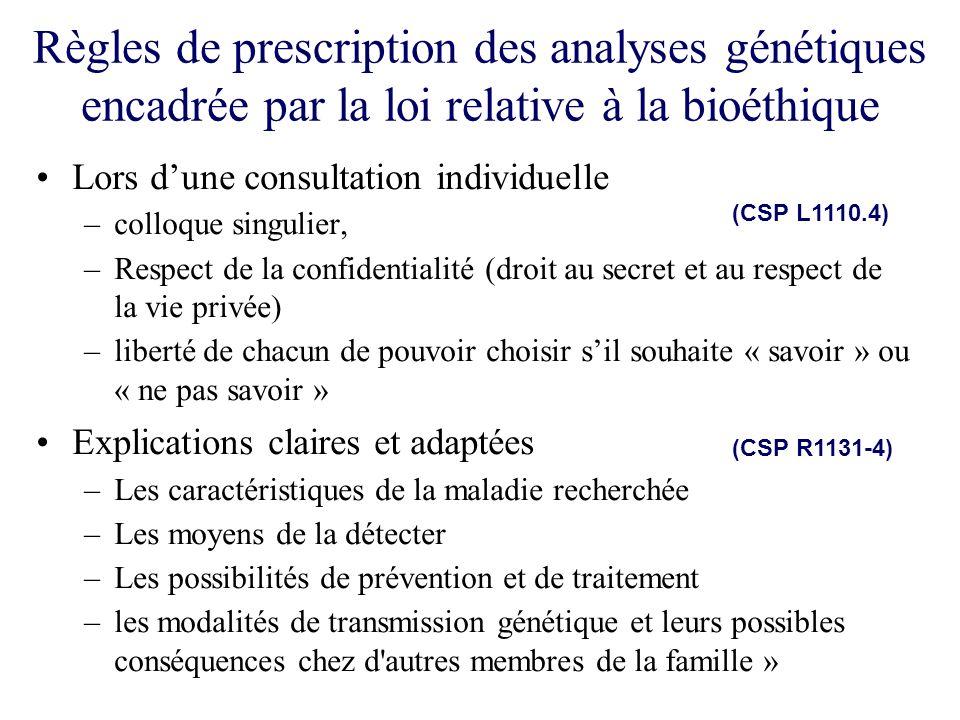 Règles de prescription des analyses génétiques encadrée par la loi relative à la bioéthique