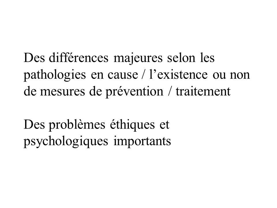 Des différences majeures selon les pathologies en cause / l'existence ou non de mesures de prévention / traitement Des problèmes éthiques et psychologiques importants