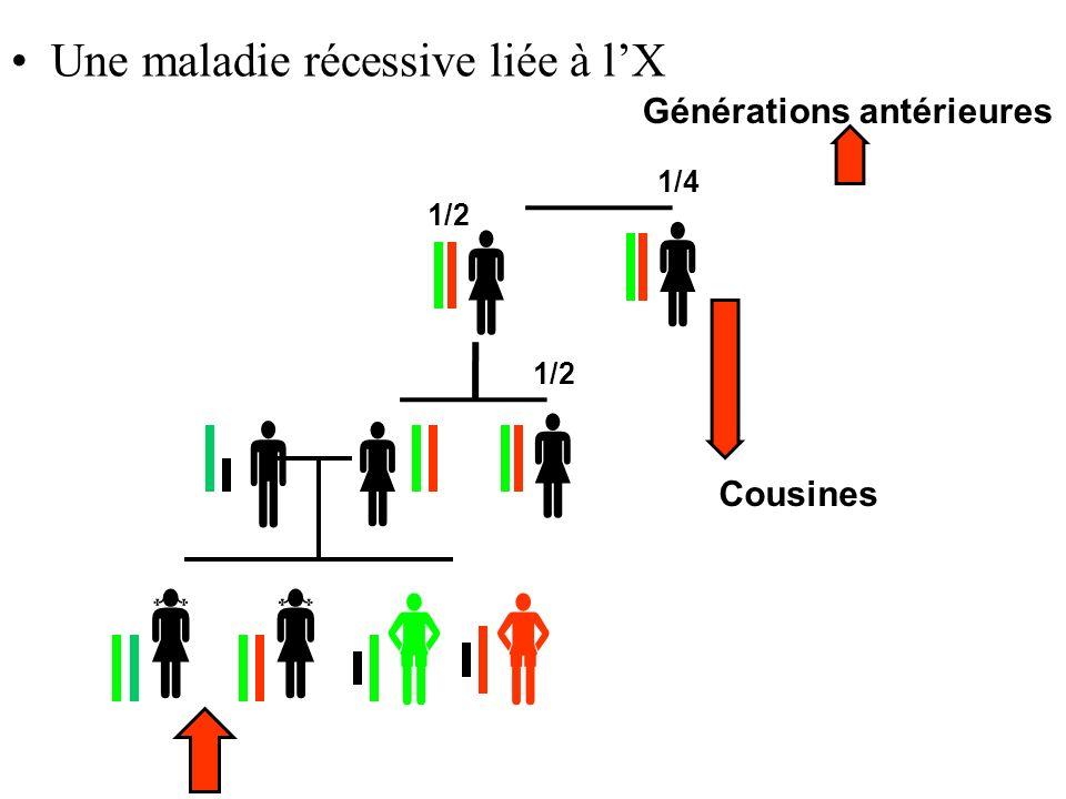        Une maladie récessive liée à l'X Générations antérieures