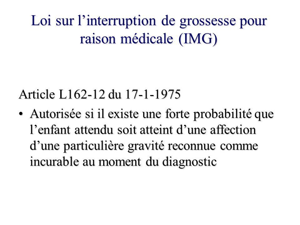 Loi sur l'interruption de grossesse pour raison médicale (IMG)