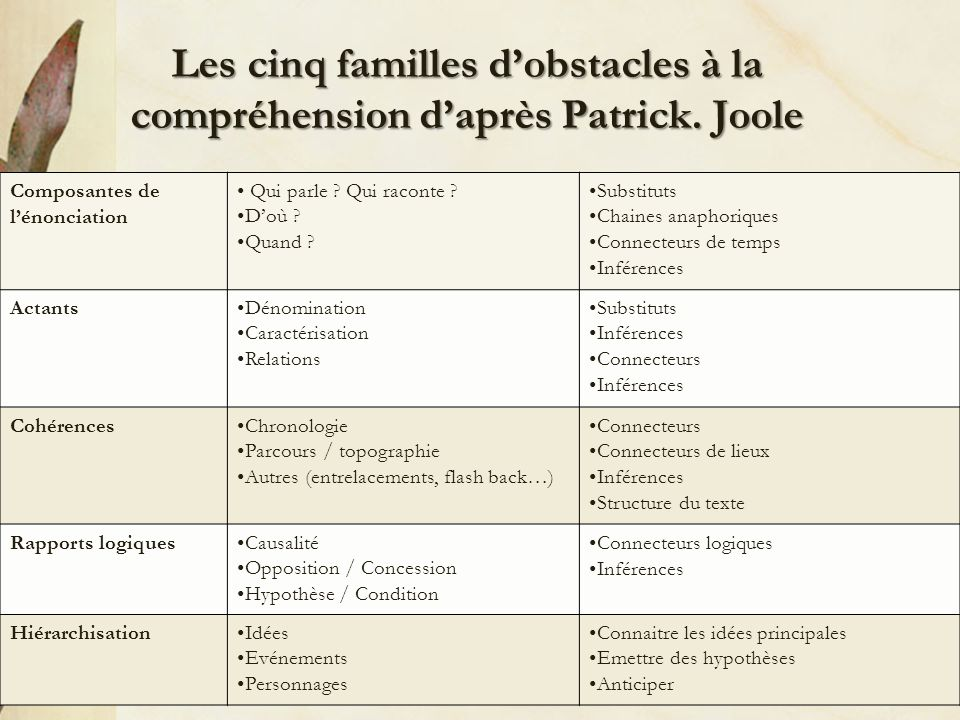 Les cinq familles d'obstacles à la compréhension d'après Patrick. Joole