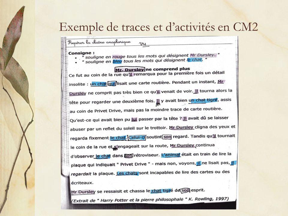 Exemple de traces et d'activités en CM2