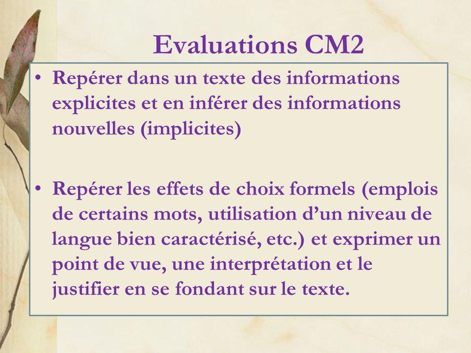 Evaluations CM2 Repérer dans un texte des informations explicites et en inférer des informations nouvelles (implicites)