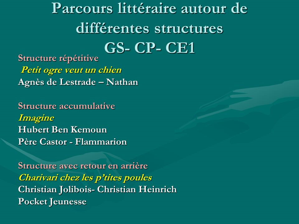 Parcours littéraire autour de différentes structures GS- CP- CE1