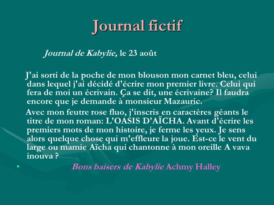 Journal fictif Journal de Kabylie, le 23 août
