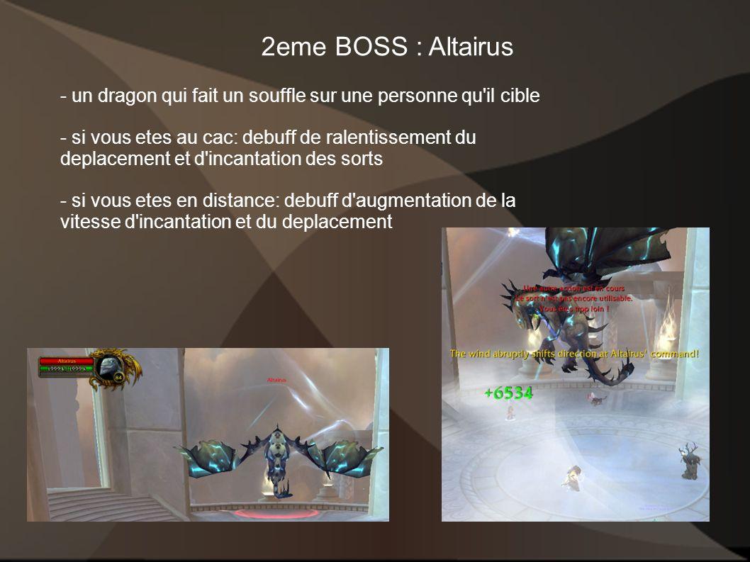 2eme BOSS : Altairus - un dragon qui fait un souffle sur une personne qu il cible.