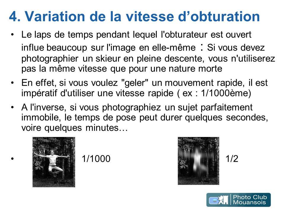 4. Variation de la vitesse d'obturation