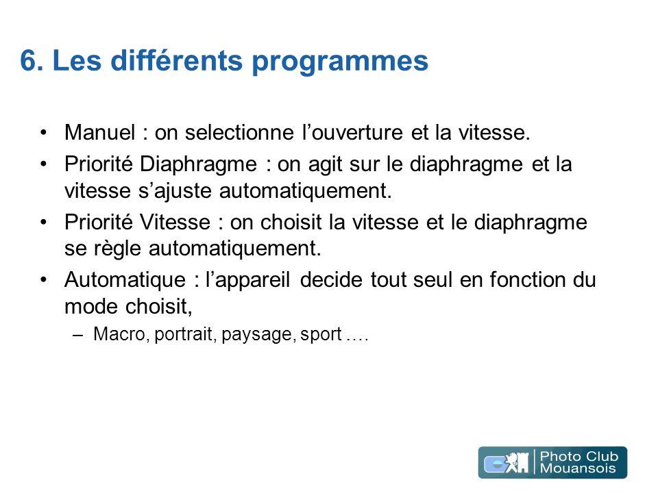6. Les différents programmes