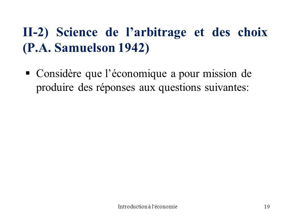 II-2) Science de l'arbitrage et des choix (P.A. Samuelson 1942)