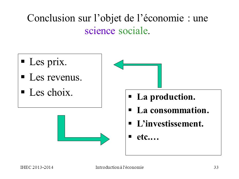 Conclusion sur l'objet de l'économie : une science sociale.