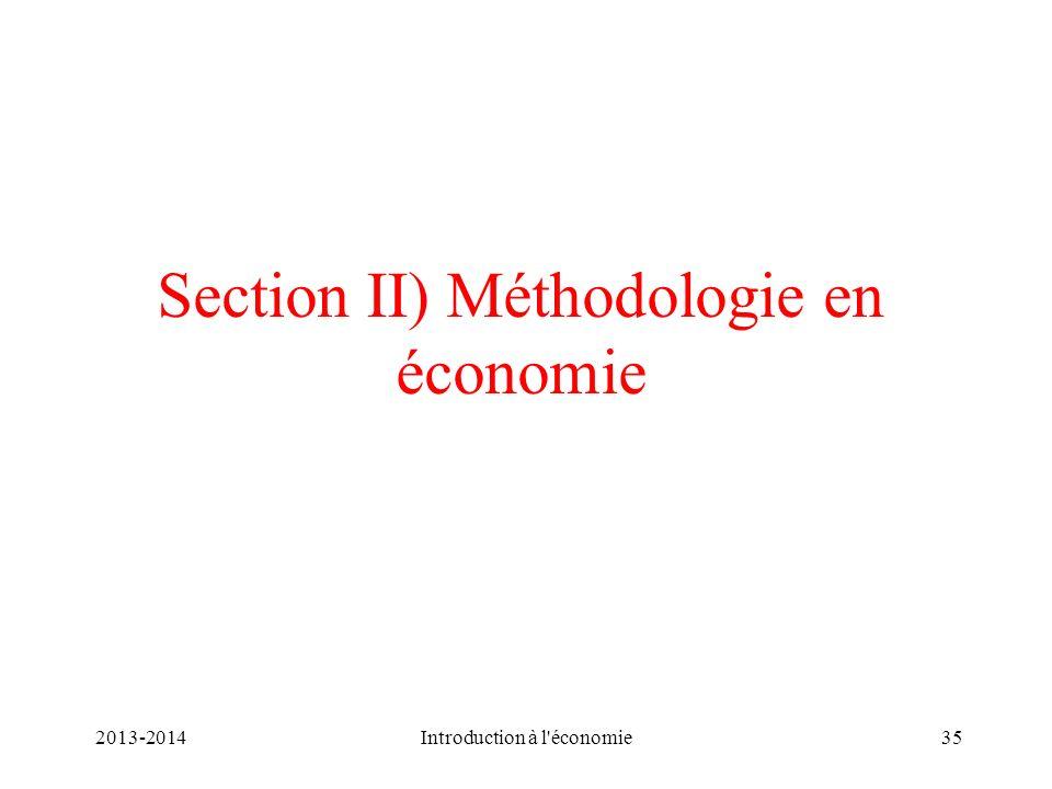 Section II) Méthodologie en économie