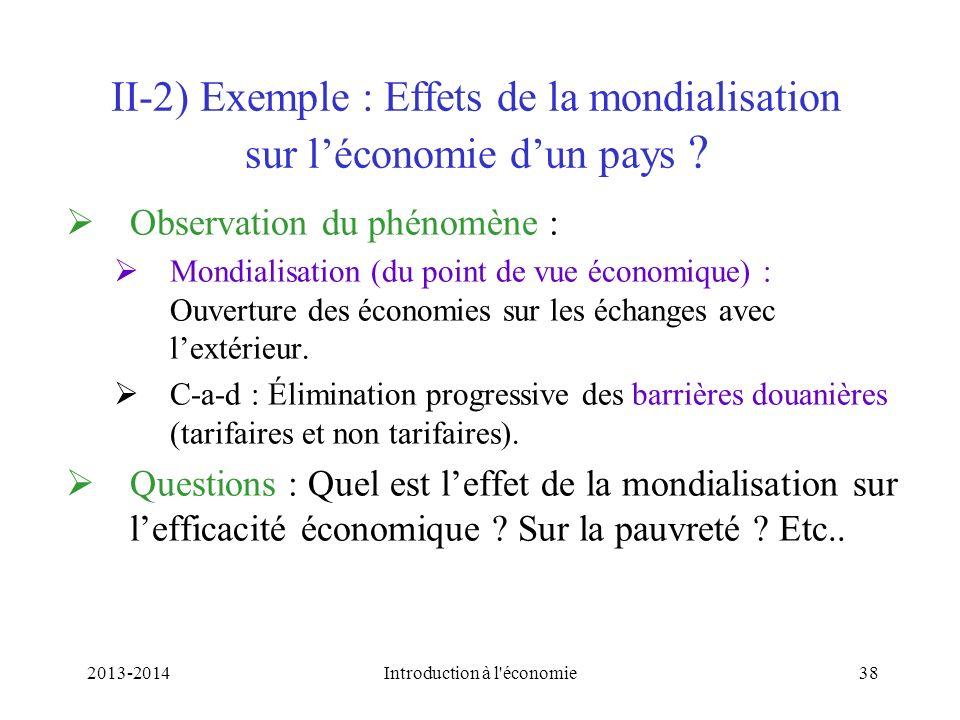 II-2) Exemple : Effets de la mondialisation sur l'économie d'un pays